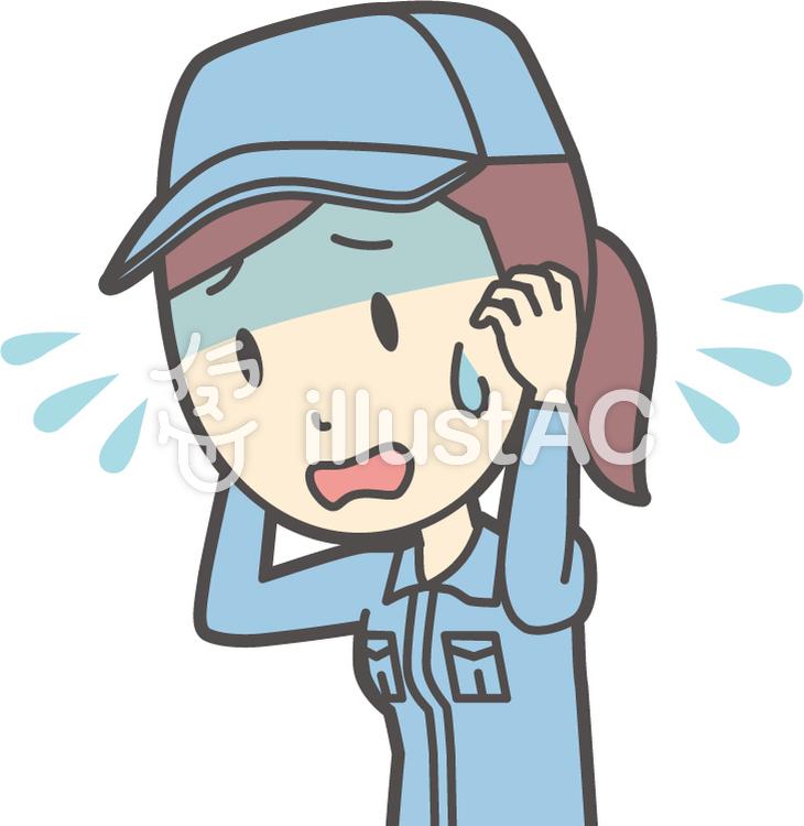 作業員女性ブルー-283-バストのイラスト