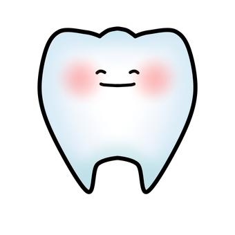 건강한 치아의 캐릭터 (윤곽선 있음)