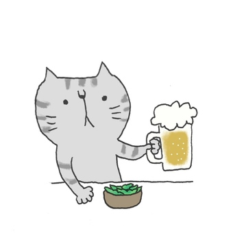 Beer and green beans and cats in summer