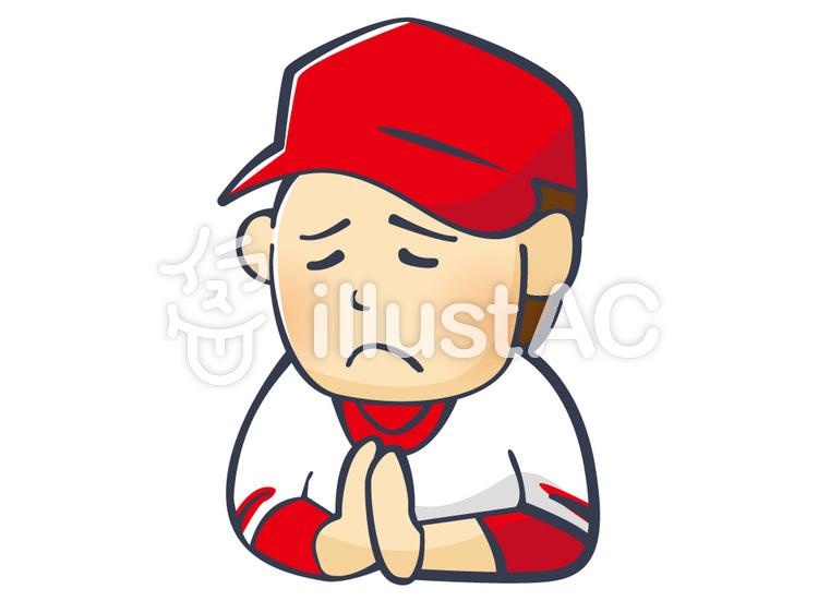 神頼みをするをする野球ファンのイラスト