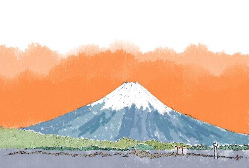 富士山と葉山朝焼け(透過)