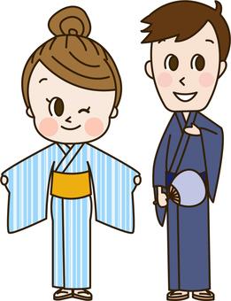 A couple wearing a yukata on a hot spring town (hot spring 6)