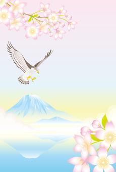 벚꽃과 매와 후지 산