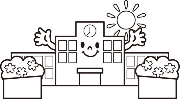 春の学校 モノクロ 顔つき