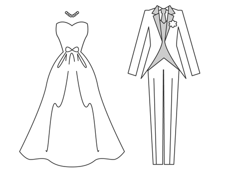 Wedding dress and tuxedo