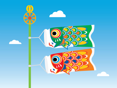 Two cute carp streamers swimming in the sky 03