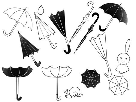 傘いろいろ白黒