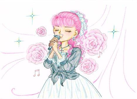 Singing girl, upper body, hand-painted