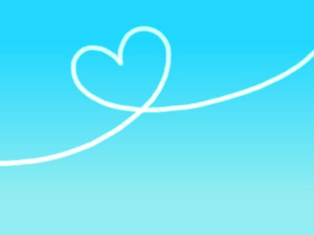 비행운 하트 푸른 하늘