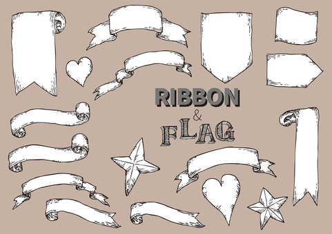 Hand-painted ribbon & flag
