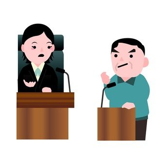 A female judge and a male accused of a testimony