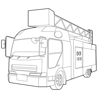 Firetruck black and white line drawing (coloring book)