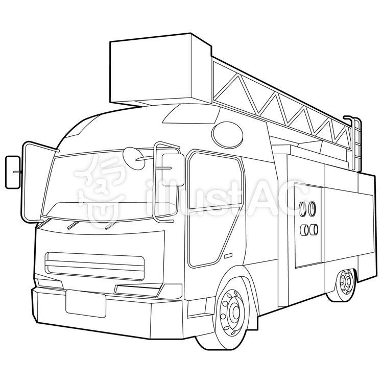 消防車白黒 線画塗り絵イラスト No 1422369無料イラストなら