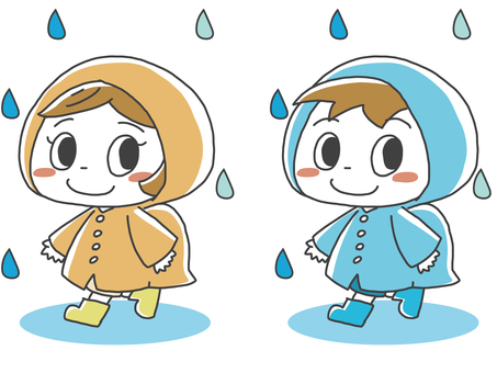 Illustration of elementary school students attending school in the rain