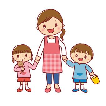 Smiling female nursery teacher and children