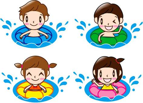 Children, 4 (men and women) who swim in a floating ring