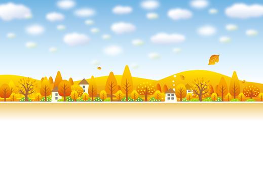 町の秋の青空と風景