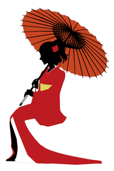 Kimono figure and umbrella