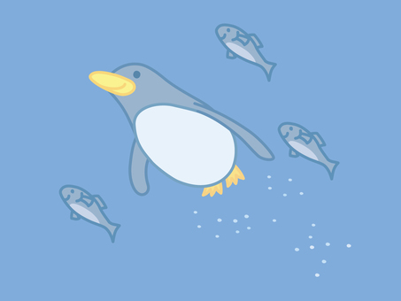 Penguins swimming with fish No.2