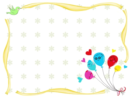 Balloon family frame floral pattern