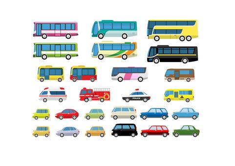 버스 자동차 세트