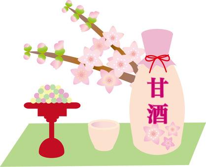 Hina dare and sake and peach blossoms
