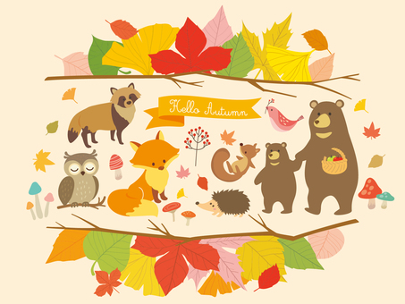Autumn animals and plant illustration (3)