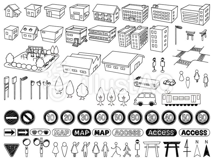 手書き風地図素材セットイラスト , No 770159/無料イラスト