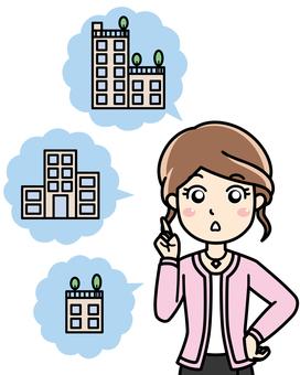 Female company staff - introduction, guidance explanation, presentation