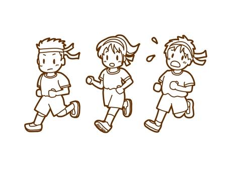 달리는 아이들 흑백