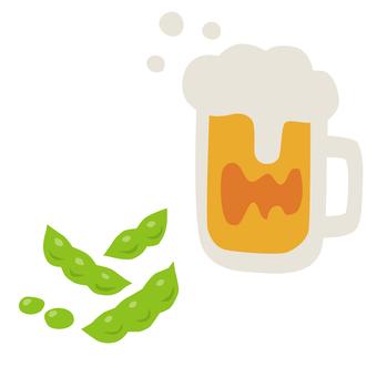 Draft beer and edamame