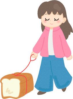 パンを散歩させる女性