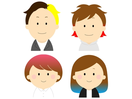 Two-tone hair color person set