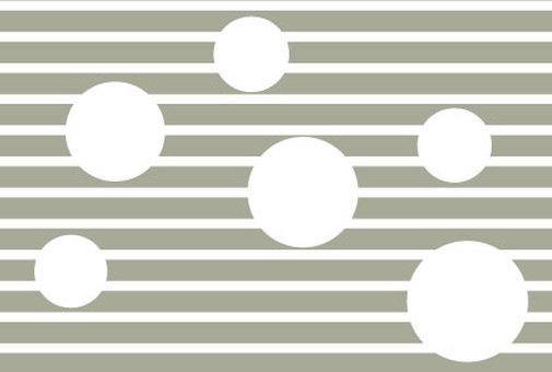 White polka dots on gray stripes