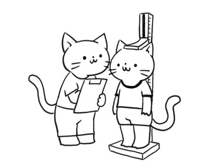 [B / W] Cat measuring height [Line drawing]