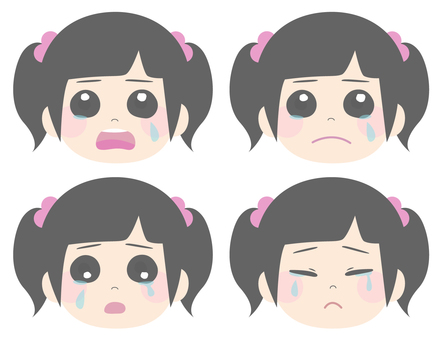 Girls crying 4 patterns