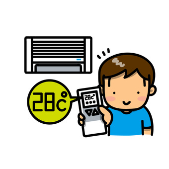 Boy setting air conditioner