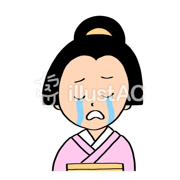 泣いた顔の江戸時代女性上半身イラスト No 1390811無料イラスト
