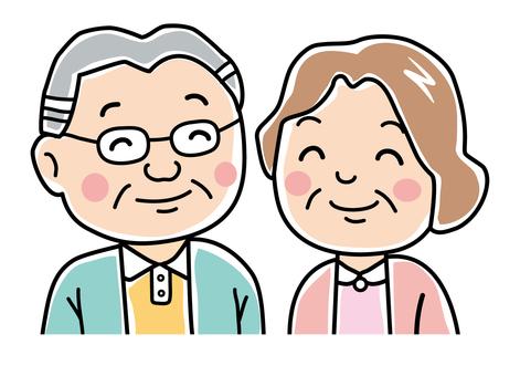 シニア夫婦の笑顔(ラフ)