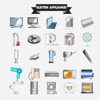 Illustration of electric appliances