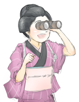 A woman in purple kimono looking into binoculars