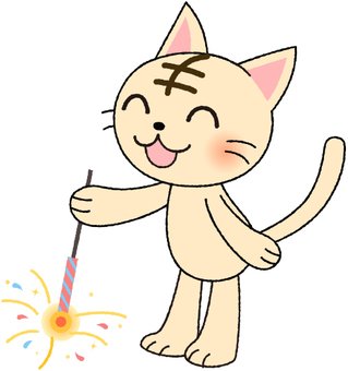 Tiger cat playing fireworks