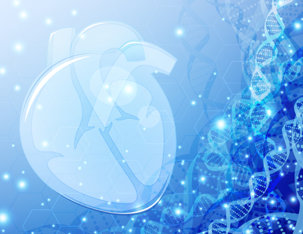 Medical image background of heart and DNA