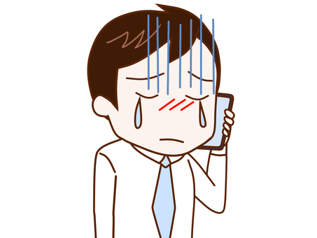 Office worker 2 talking while crying on a smartphone