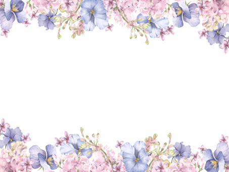 Flower frame 171 - Lilac and pansy flower frame