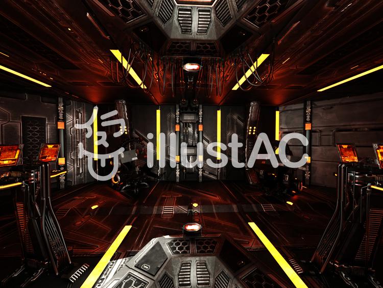 宇宙船コントロール・ルームのイラスト