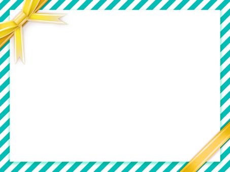 녹색 × 흰색 라인 배경에 노란 리본