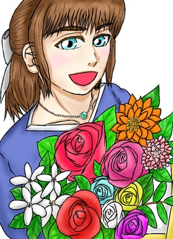 A woman with a bouquet (color white background)