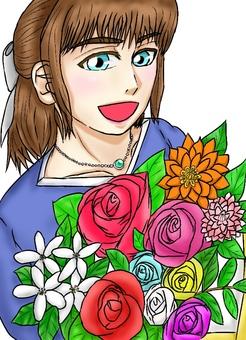 꽃다발을 가진 여자 (색상 흰색 배경)