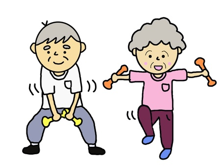 Dumbbell exercise grandfather old woman